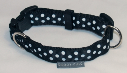 Doggy Chic Black Polka Dot Adjustable Collar on Black Webbing with Plastic Hardware