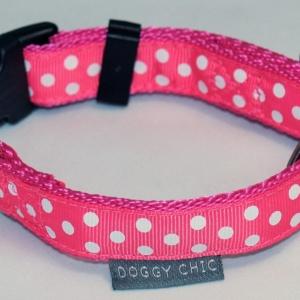 Doggy Chic Cerise Polka Dot Adjustable Collar on Cerise Webbing with Plastic Hardware