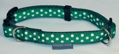 Doggy Chic Green Polka Dot Adjustable Collar on Forest Green Webbing with Plastic Hardware