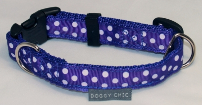 Doggy Chic purple Polka Dot Adjustable Collar on purple Webbing with Plastic Hardware