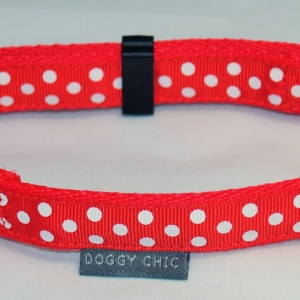 Doggy Chic Red Polka Dot Adjustable Collar on Red Webbing with Plastic Hardware