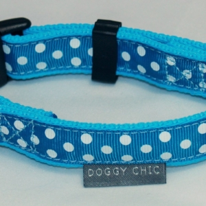 Doggy Chic Teal Polka Dot Adjustable Collar on Baby Blue Webbing with Plastic Hardware