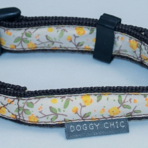 Doggy Chic Yellow Cotton Cream Floral Adjustable Collar on Brown Webbing with Plastic Hardware