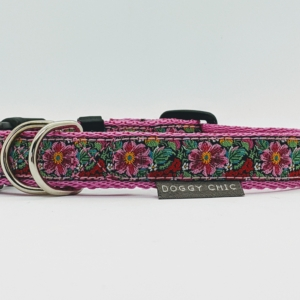 doggy chic cerise flowers dog collar