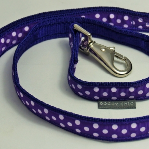 Doggy Chic Purple Polka Dot Adjustable Collar on Purple Webbing