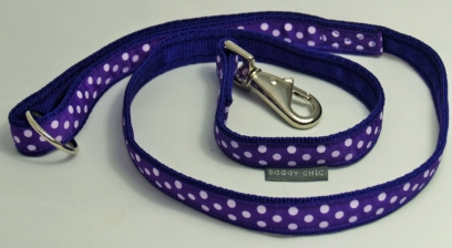 Doggy Chic Purple Polka Dot Adjustable Collar on Purple Webbing
