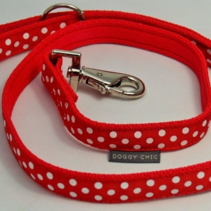 Doggy Chic Red Polka Dot Lead on Red Webbing with Metal Hardware