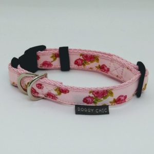 Doggy Chic Rose Print Pink Adjustable Collar on Baby Pink Webbing with Plastic Hardware