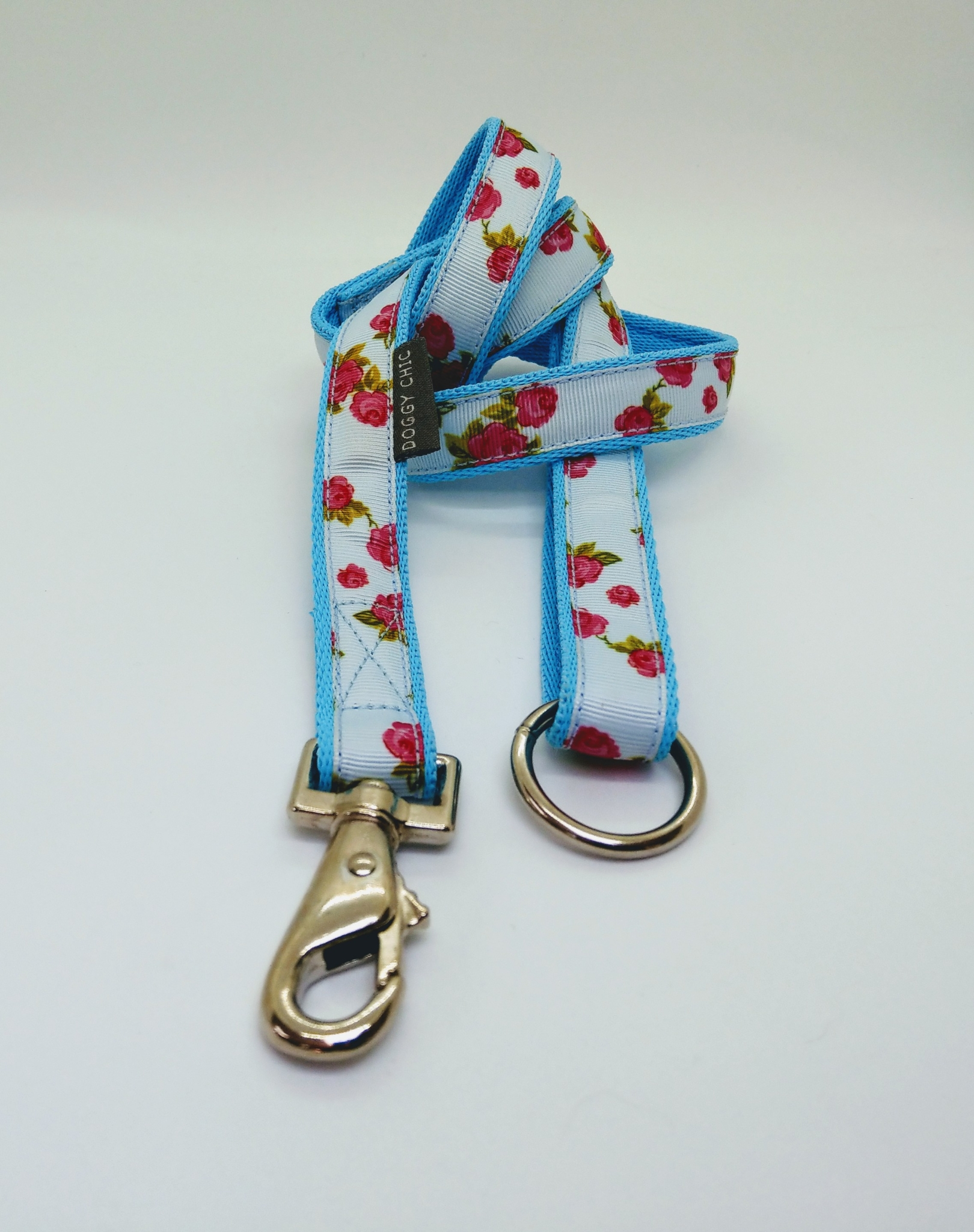 Rose Print Lead in Blue for your dog