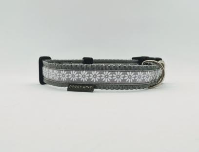 Grey White Flowers handmade dog collar