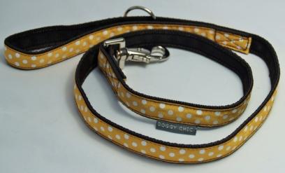 Ochre polka dot lead for your dog