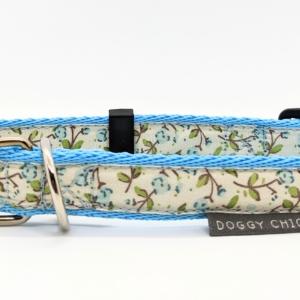 blue flower dog collar