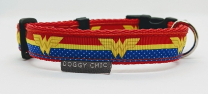doggy chic wonder woman adjustable dog collar