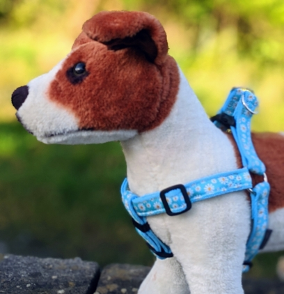 doggy chic daisy step in dog harness in blue