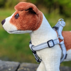 doggy chic gingham step in dog harness in grey