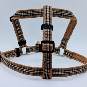 designer tartan dog harness