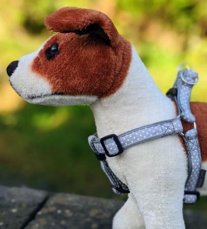 doggy chic spotty polka dot dog harness in grey
