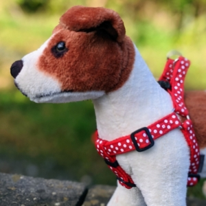 doggy chic spotty polka dot harness in red