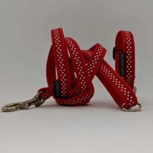 puppy collar and lead red