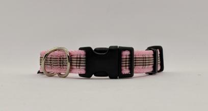 pink tartan dog collar