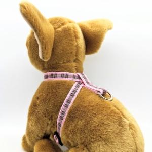 pink tartan dog harness