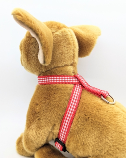 Red Gingham Harness for Small Dogs and Puppies